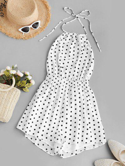 ZAFUL Backless Polka Dot Halter Romper - White M
