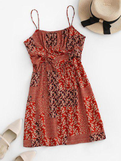 Tiny Floral Patchwork Print Cinched Cami Dress - Red S