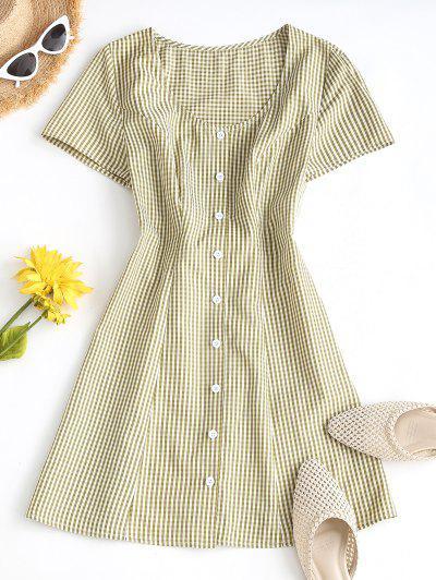 ZAFUL Gingham Button Up Mini Dress - Yellow M