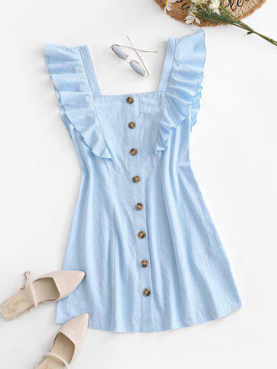 Sleeveless Button Up Flounced Dress - Light Blue M