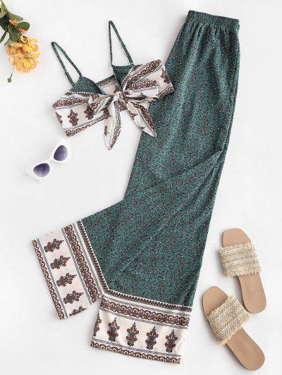 Ethnic Floral Pattern Cami Top Two Piece Pants Set - Deep Green S