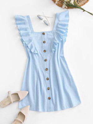 zaful Sleeveless Button Up Flounced Dress