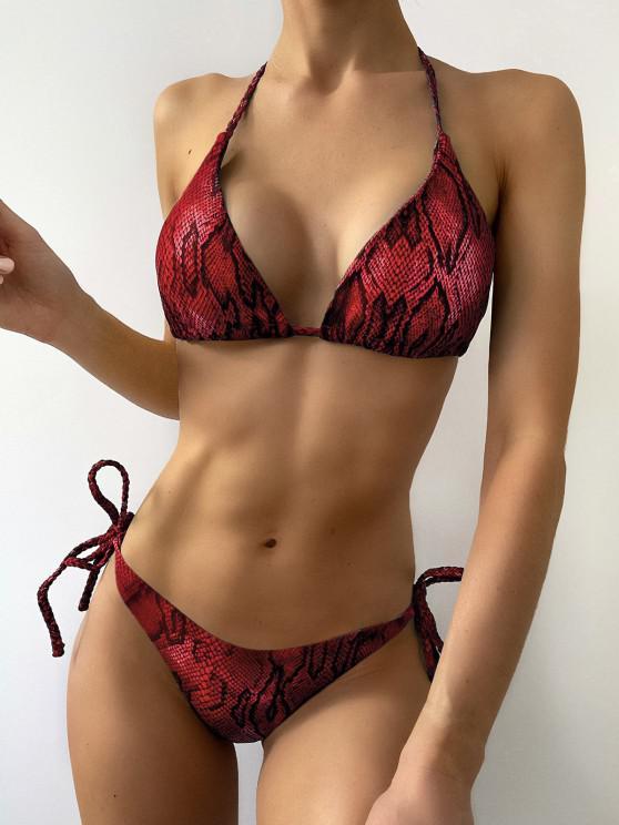 new ZAFUL Snake Print Braided String Bikini Set - RED WINE S