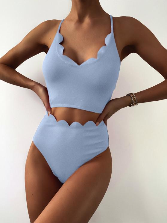 ZAFUL Plain Scalloped Trim High Leg Tankini Swimsuit - ضوء السماء الزرقاء 2XL