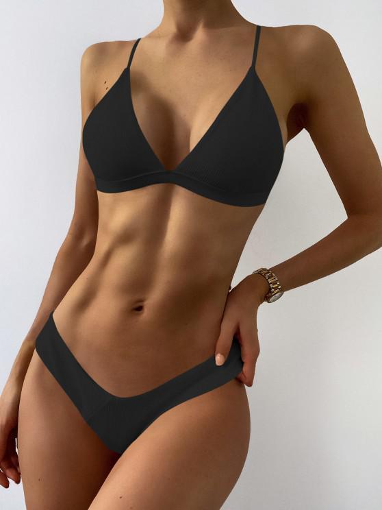 womens Plunge Padded Textured High Cut Bikini Set - BLACK M