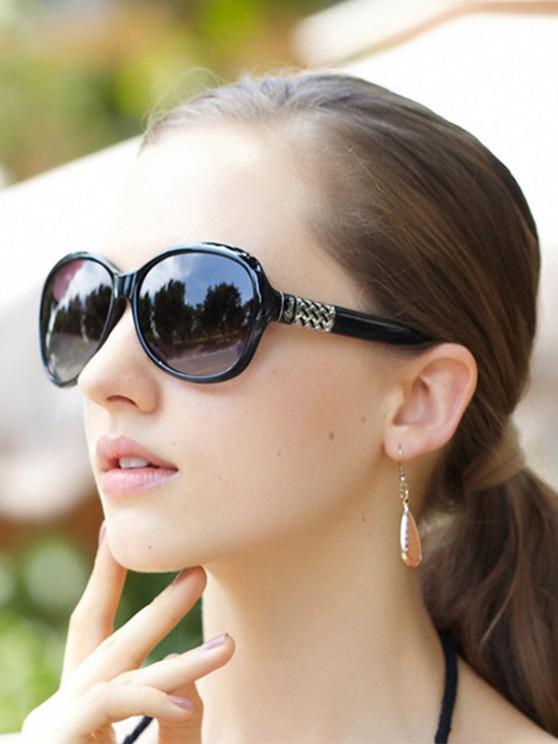 Round Frame Wide Arm Gradient Sunglasses - أسود
