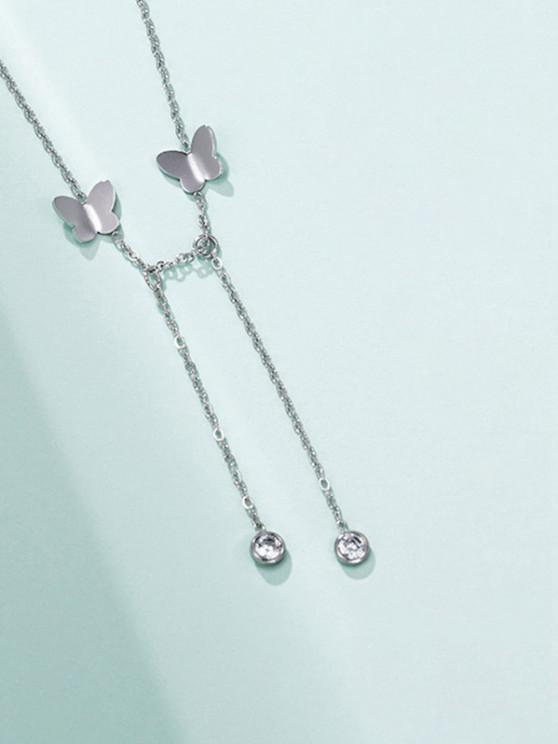 Butterfly Chain Charm Necklace - فضة