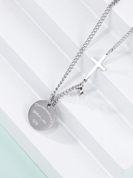 outfit Cross Round Pendant Necklace - SILVER