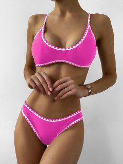 ZAFUL Contrast Trim Crochet Bikini Set - Rose Red S