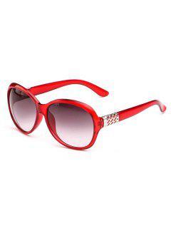 Runde Sonnenbrille Mit Breitem Gestell - Roter Wein