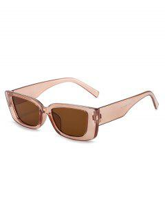 Anti UV Rectangle Frame Wide Temple Sunglasses - Tan