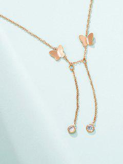 Butterfly Chain Charm Necklace - Rose Gold