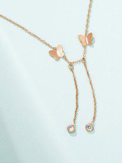 Collar De Cadena De La Mariposa Del Encanto - Oro Rosa