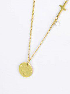 Cross Round Pendant Necklace - Golden