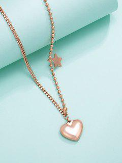Heart Star Asymmetrical Charm Necklace - Golden