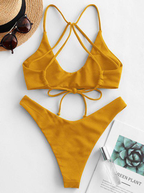 latest ZAFUL Textured Strappy High Leg Bikini Swimsuit - DARK ORANGE S Mobile