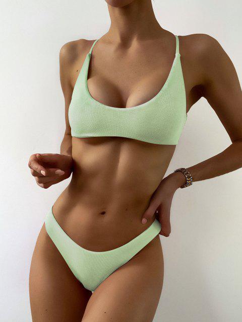 hot ZAFUL Textured Strappy High Leg Bikini Swimsuit - MINT GREEN S Mobile