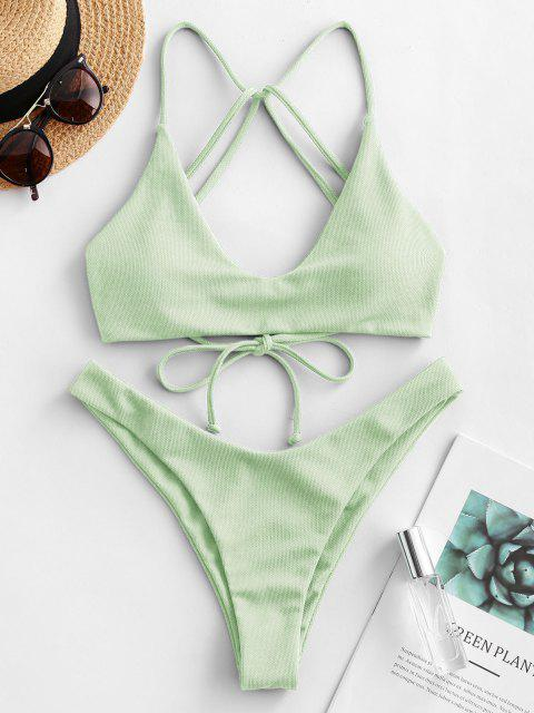 outfit ZAFUL Textured Strappy High Leg Bikini Swimsuit - MINT GREEN M Mobile
