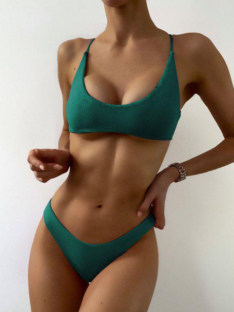 fashion ZAFUL Textured Strappy High Leg Bikini Swimsuit - MEDIUM SEA GREEN S Mobile