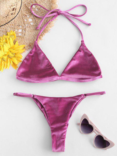fashion ZAFUL Velevt Halter String Bikini Set - MEDIUM VIOLET RED S Mobile