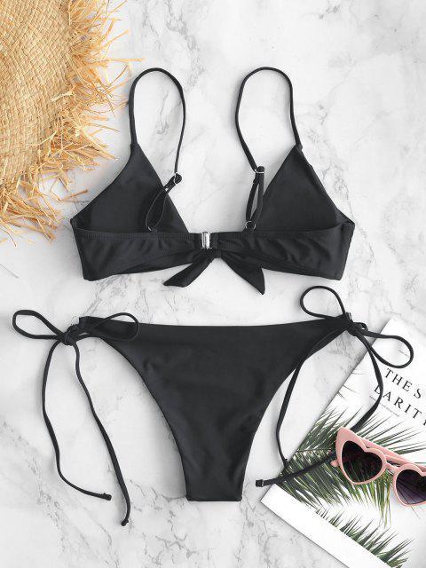 unique ZAFUL Knotted String Bikini Set - BLACK M Mobile