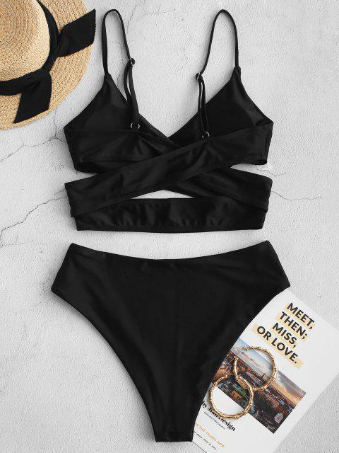 fancy ZAFUL Crossover High Cut Cutout Tankini Swimsuit - BLACK M Mobile