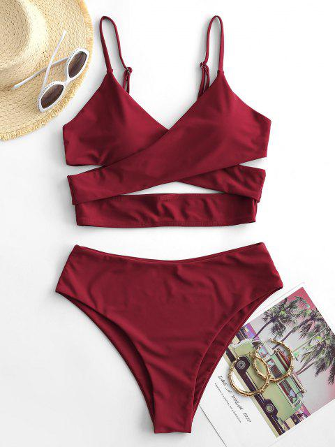 women ZAFUL Crossover High Cut Cutout Tankini Swimsuit - RED WINE M Mobile