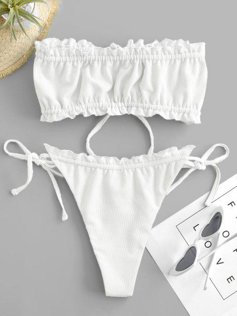 outfits ZAFUL Textured Frilled Tie Bandeau Bikini Swimwear - WHITE S Mobile