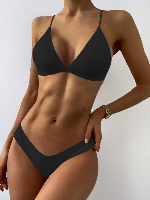 womens Plunge Padded Textured High Cut Bikini Set - BLACK M Mobile