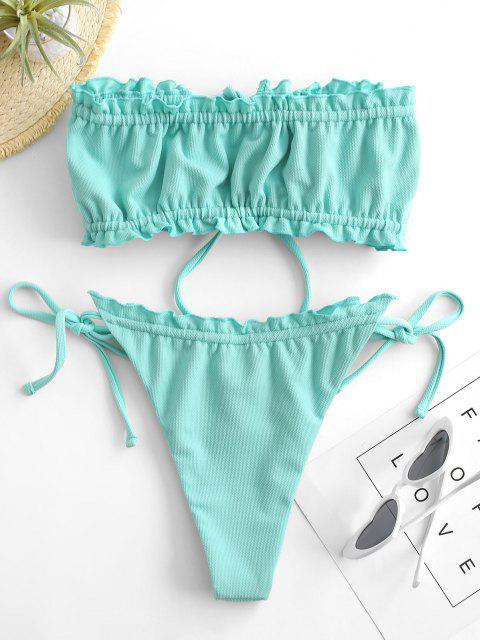 women ZAFUL Textured Frilled Tie Bandeau Bikini Swimwear - CELESTE S Mobile