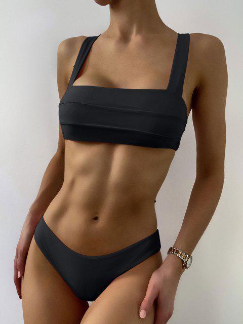 trendy Bandeau Padded Bikini Top and Bottoms - BLACK L Mobile