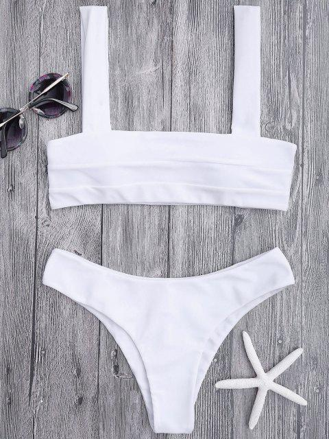 latest Bandeau Padded Bikini Top and Bottoms - WHITE S Mobile