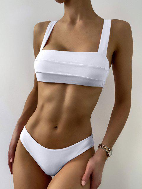 shop Bandeau Padded Bikini Top and Bottoms - WHITE L Mobile