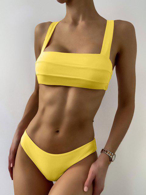 Bikini Top A Fascia Imbottito E Bottoms - Giallo M Mobile