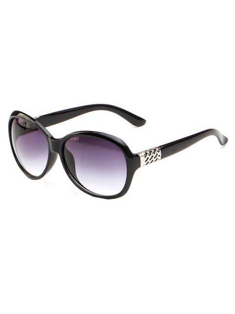 shop Round Frame Wide Arm Gradient Sunglasses - BLACK  Mobile