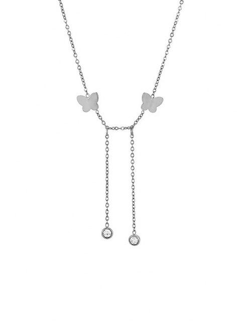 online Butterfly Chain Charm Necklace - SILVER  Mobile