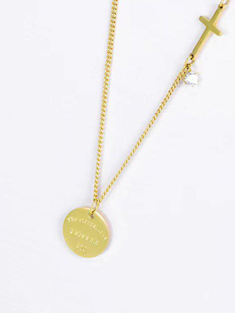 outfits Cross Round Pendant Necklace - GOLDEN  Mobile