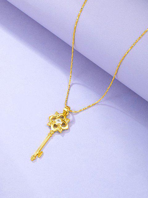 shop Hollow Key Pendant Chain Necklace - GOLDEN  Mobile