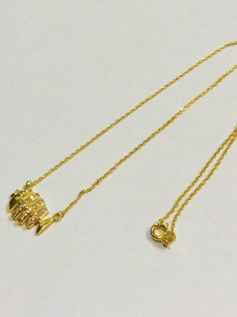 Collier en Strass avec Pendentif de Poisson - d'or  Mobile