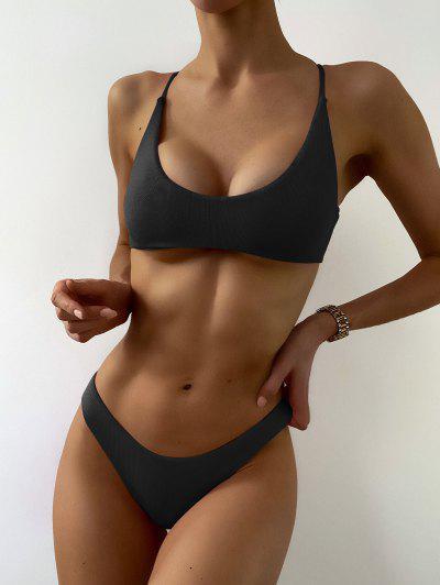 ZAFUL Textured Strappy High Leg Bikini Swimsuit - Black M