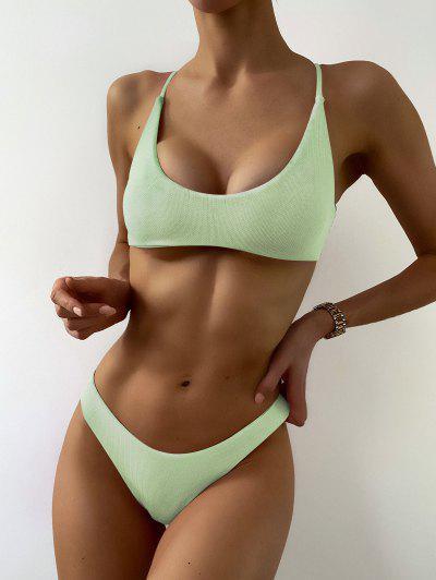 ZAFUL Textured Strappy High Leg Bikini Swimsuit - Mint Green M