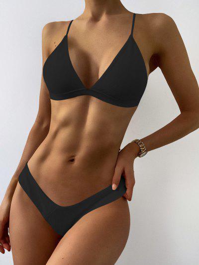 Plunge Padded Textured High Cut Bikini Set - Black M