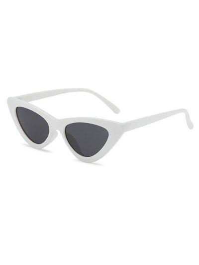 Retro Triangle Frame Slim Sunglasses - Milk White