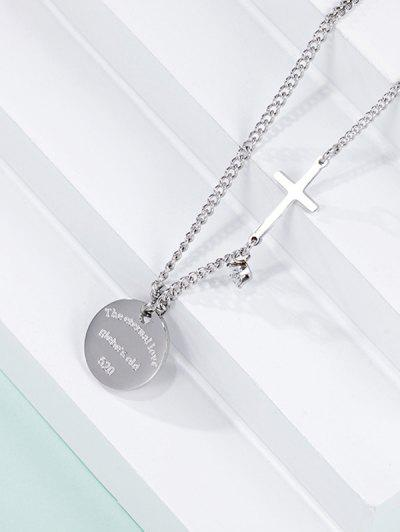 Cross Round Pendant Necklace - Silver
