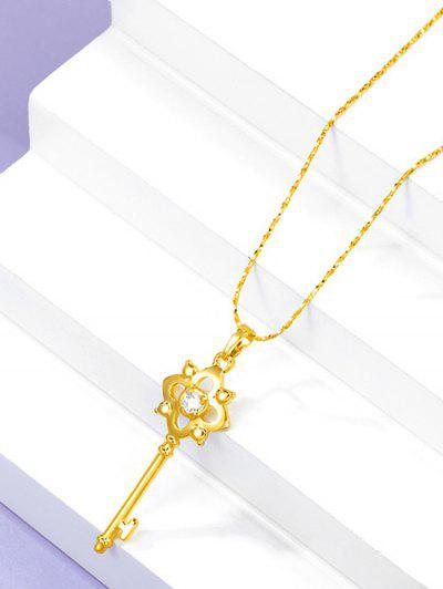 Hollow Key Pendant Chain Necklace - Golden