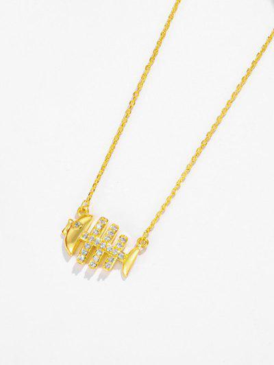 Fish Bone Rhinestone Pendant Necklace - Golden