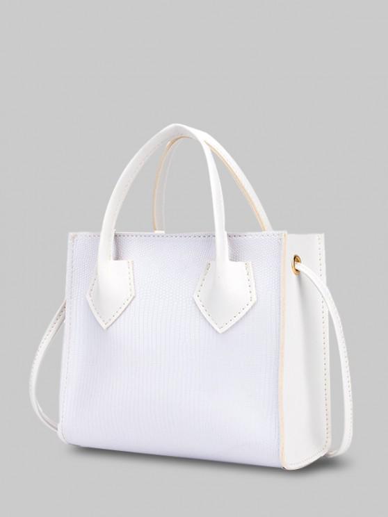 buy Minimalistic Boxy Embossed Dual-Handle Tote Bag - WHITE