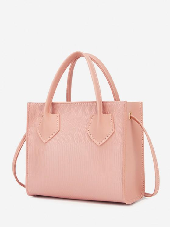 women Minimalistic Boxy Embossed Dual-Handle Tote Bag - LIGHT PINK