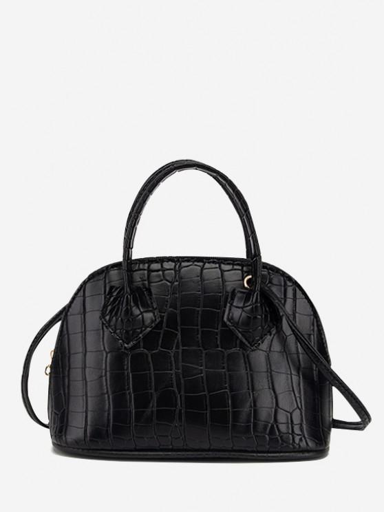women's Embossed Dual Handle Flat-Base Crossbody Bag - BLACK