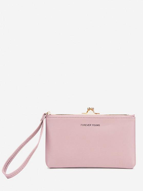 fashion Letter Print PU Clutch Bag - LIGHT PINK REGULAR